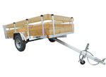 "5 X 8'4""Aluminum Utility Trailer w/ 3-Board Wood Rack & Removable Gate - Van Kam Truck & Trailer"