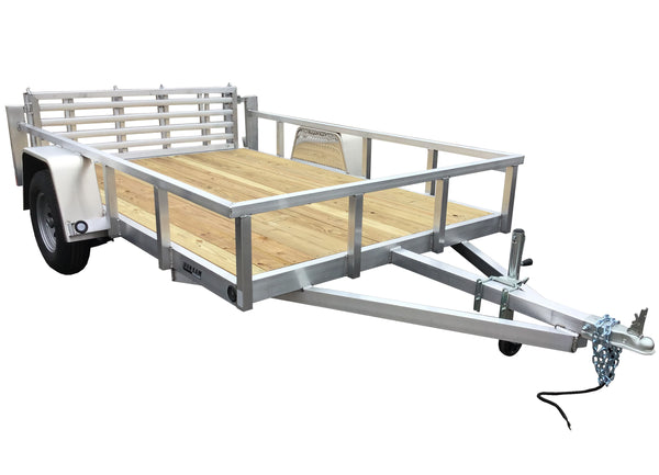 6.5 X 10 Aluminum Utility Trailer w/ 3-side rail & 4' Bi-Fold Ramp Gate