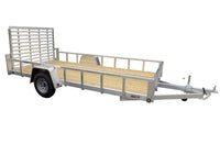 6.5 X 14 Aluminum Utility Trailer SA w/ 3-side rail & 4' Ramp Gate - Van Kam Truck & Trailer