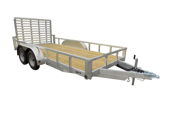 6.5 X 14 Tandem Aluminum Utility Trailer w/ 3-side rail & Ramp