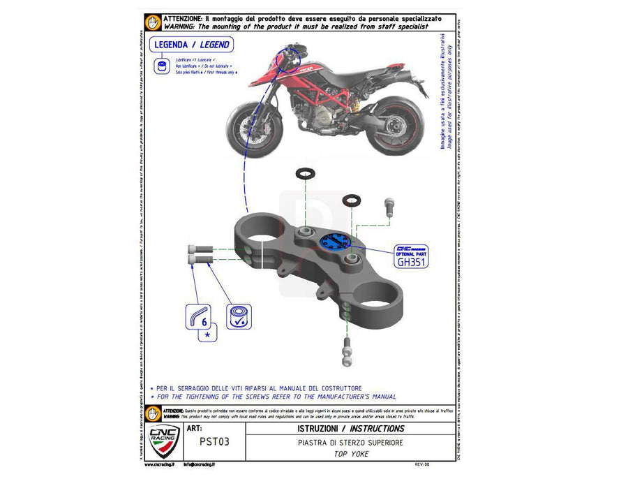Ducati Hypermotard 796 Triple Top Yoke Riser Kit-Yokes, Triple Tree Clamps-DESIGN CORSE