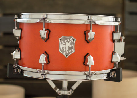 SJC Custom Drums USA Custom Snare Drum Maple Ply Shell Orange Satin Stain