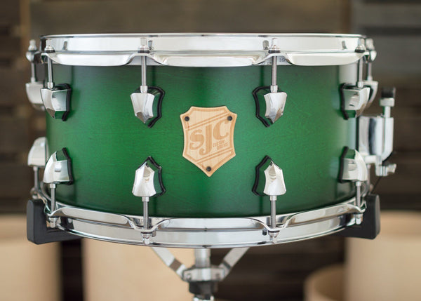 7x14 Green Satin Stain Burst Snare