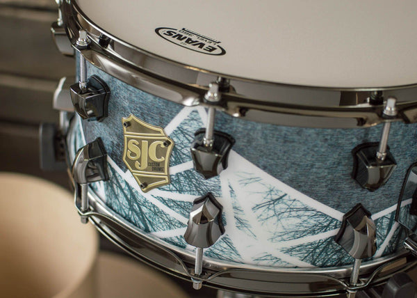 SJC Custom Drums USA Custom Snare Drum Maple Shell Custom Geometric Design Matte Wrap