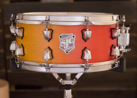 SJC Custom Drums USA Custom Snare Drum Maple Ply Shell Yellow to Red Satin Stain Horizontal Fade