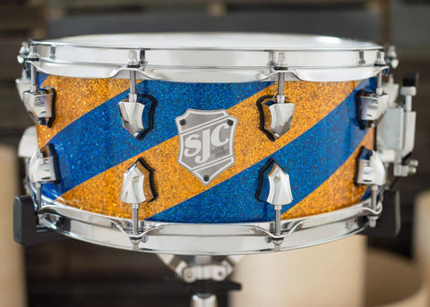 SJC Custom Drums USA Custom Snare Drum Maple Ply Shell Blue & Gold Glitter Barbershop Wrap