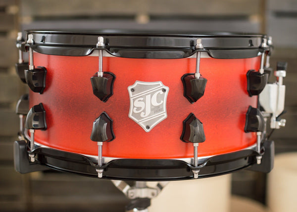 SJC Custom Drums USA Custom Snare Drum Maple Ply Shell  Cherry to Red Satin Stain Burst