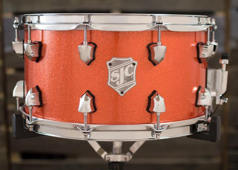 SJC Custom Drums USA Custom Snare Drum Maple Ply Shell Hi-Gloss Orange Sparkle Lacquer