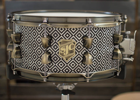 SJC Custom Drums USA Custom Snare Drum Art Deco Mahogany Snare