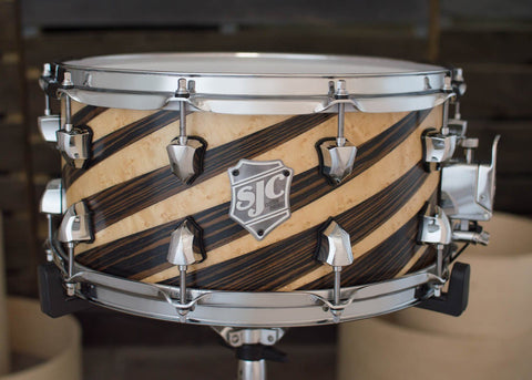 SJC Custom Drums USA Custom Snare Drum Birdseye Maple & Ebony Veneer Stripes Super Satin Finish Snare