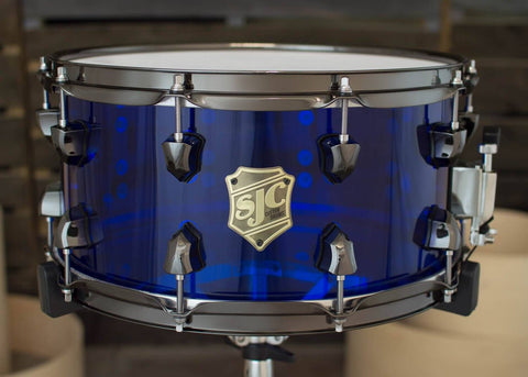 SJC Custom Drums USA Custom Snare Drum Navy Blue Acrylic Snare w/ Triggered LED Kit