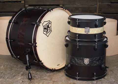 SJC Custom Drums USA Custom Drum Kit Maple Flat Black Wrap w/ Aged White/Black/Merlot Pearl Stripes