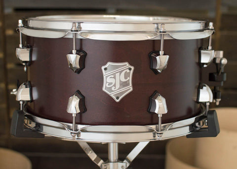 SJC Custom Drums USA Custom Snare Drum Maple Ply Shell Cherry Satin Stain