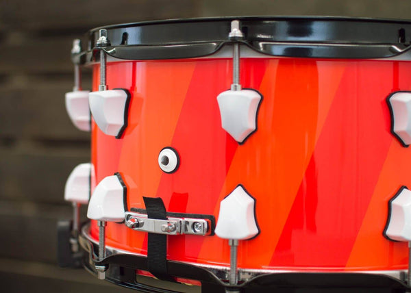 SJC Custom Drums USA Custom Snare Drum Maple Orange Blacklight Paint Snare Fluorescent Light & Dark Orange Hi-Gloss Black Light Finish