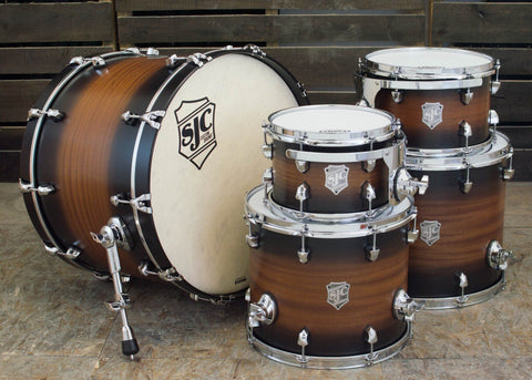 SJC Custom Drums USA Custom Drum Kit Mahogany Natural to Black Satin Stain Burst