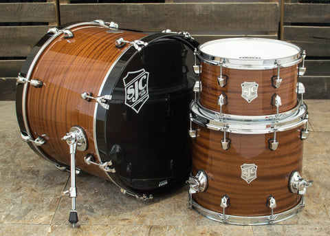 SJC Custom Drums USA Custom Drum Kit Mahogany Natural Hi-Gloss Lacquer w/ Hi-Gloss Piano Black Hoops