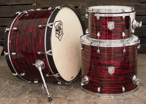 SJC Custom Drums USA Custom Drum Kit Mahogany Red Oyster Wrap