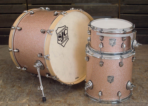 SJC Custom Drums USA Custom Drum Kit Mahogany Bermuda Sand Wrap