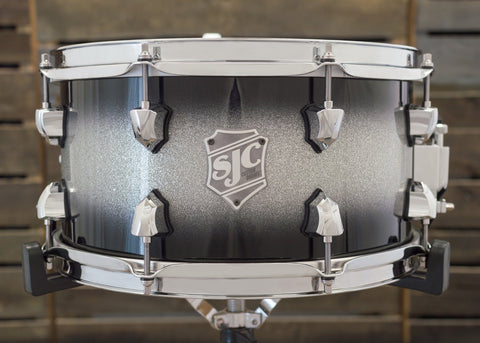 SJC Custom Drums USA Custom Snare Drum Maple Ply Shell Hi-Gloss Silver Sparkle Lacquer Burst
