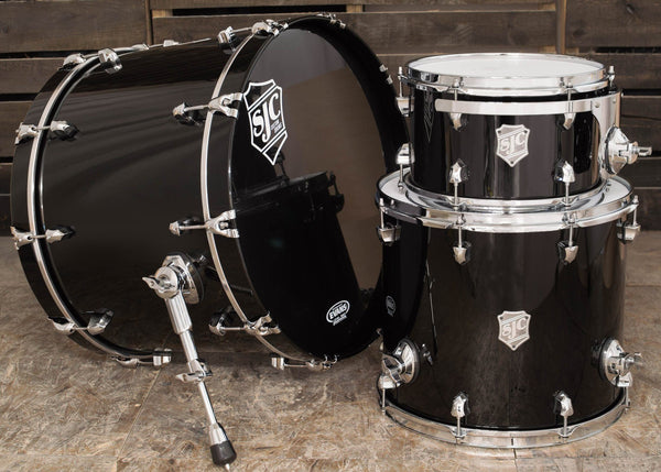 SJC Custom Drums USA Custom Drum Kit Maple Piano Black Hi-Gloss