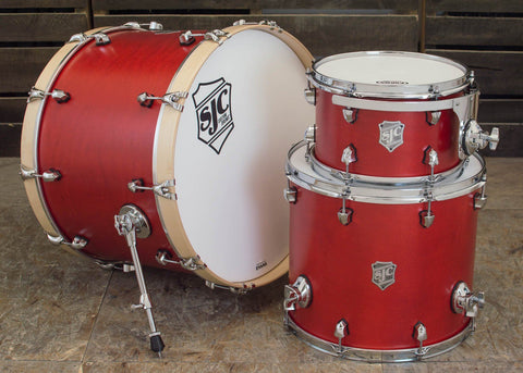 SJC Custom Drums USA Custom Drum Kit Maple Red Satin Stain