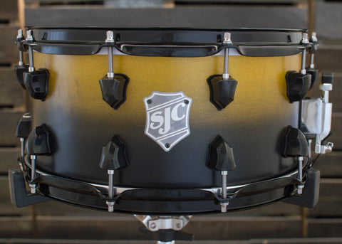 SJC Custom Drums USA Custom Snare Drum Maple Yellow to Black Satin Stain Fade