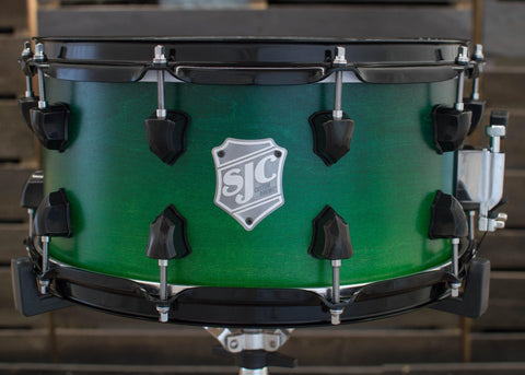 SJC Custom Drums USA Custom Snare Drum Maple Dark Green to Green Satin Stain Fade