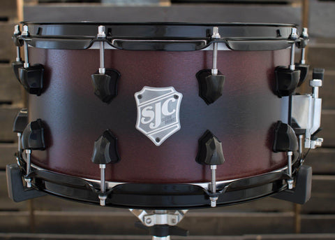 SJC Custom Drums USA Custom Snare Drum Maple Ply Shell Chocolate to Walnut Satin Stain Burst
