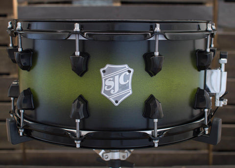 SJC Custom Drums USA Custom Snare Drum Maple Ply Shell Goblin Green to Black Satin Stain Burst