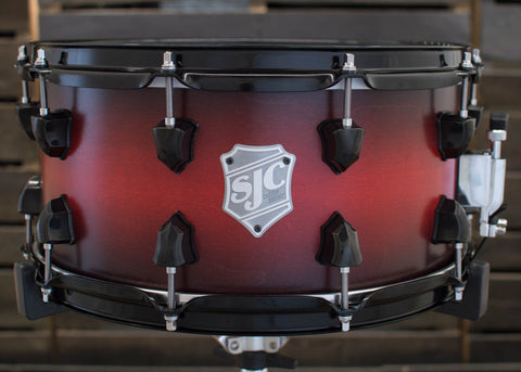 SJC Custom Drums USA Custom Snare Drum Maple Red to Cherry Satin Stain Burst