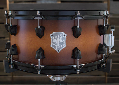 SJC Custom Drums USA Custom Snare Drum Maple Golden Ochre to Walnut Satin Stain Burst
