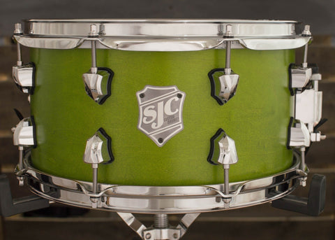 SJC Custom Drums USA Custom Snare Drum Maple Ply Shell Goblin Green Satin Stain