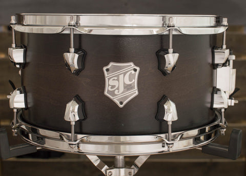 SJC Custom Drums USA Custom Snare Drum Maple Ply Shell Chocolate to Black Satin Stain Burst
