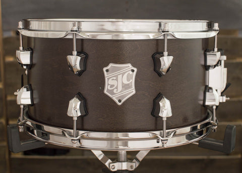 SJC Custom Drums USA Custom Snare Drum Maple Ply Shell Chocolate Satin Stain