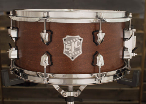 SJC Custom Drums USA Custom Snare Drum Maple Shell Burnt Sienna Satin Stain