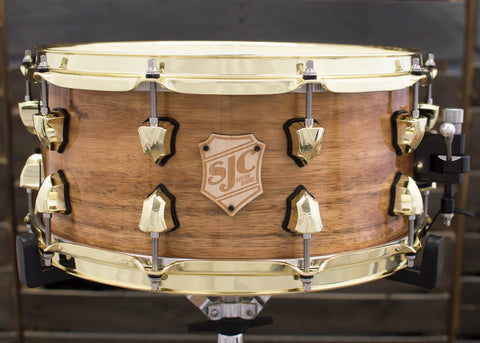 SJC Custom Drums USA Custom Snare Drum Maple Ply Koa Outer Veneer Hi-Gloss