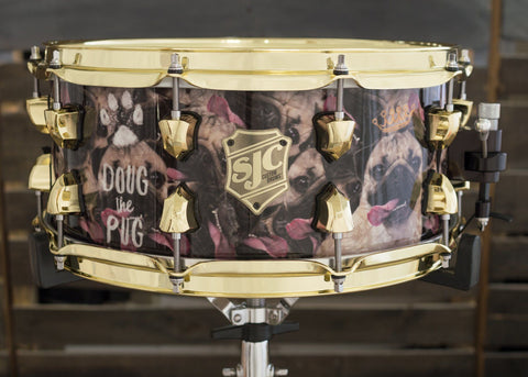 SJC Custom Drums USA Custom Snare Drum Maple Ply Shell Doug the Pug over Pearl Wrap