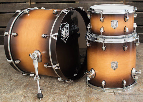 SJC Custom Drums USA Custom Drum Kit Maple Tobacco Burst Super Satin Stain