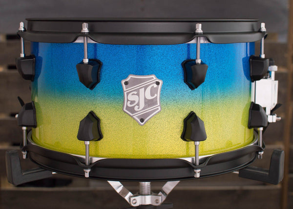 SJC Custom Drums USA Custom Snare Drum Maple Ply Shell Hi-Gloss Blue to Lime Green Sparkle Fade