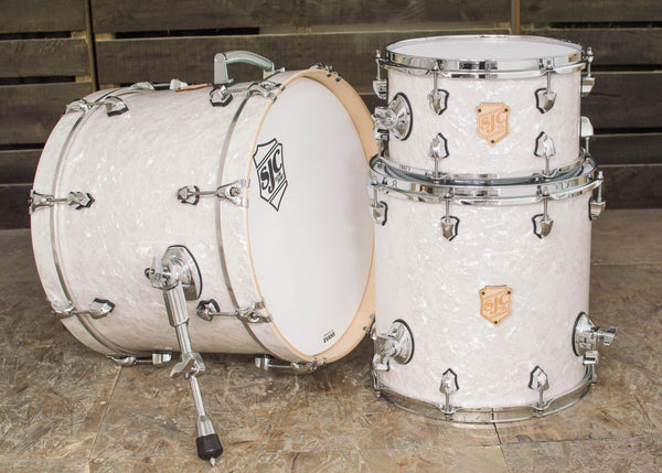 SJC Custom Drums USA Custom Drum Kit Maple Shells White Pearl Wrap