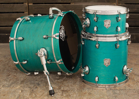 SJC Custom Drums USA Custom Drum Kit Maple Teal Satin