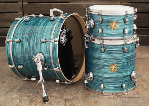 SJC Custom Drums USA Custom Drum Kit Maple Turquoise Ripple Wrap