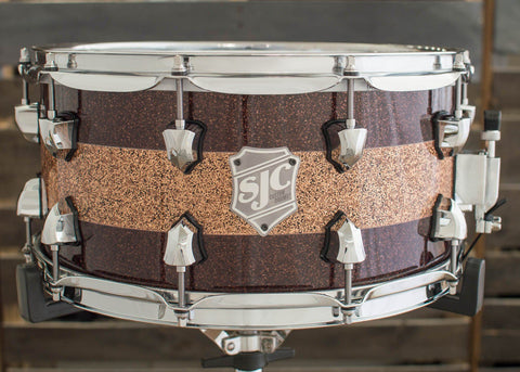 SJC Custom Drums USA Custom Snare Drum Maple Ply Root Beer Glass Glitter w/ Copper Glitter Stripe