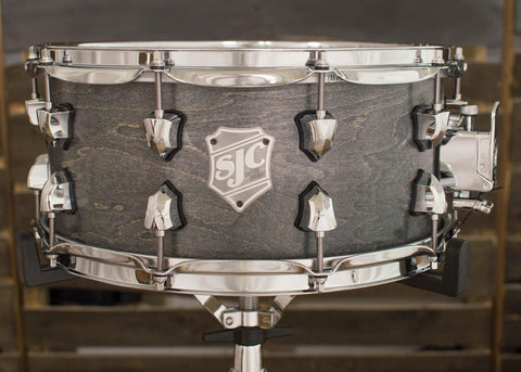 SJC Custom Drums USA Custom Snare Drum Maple Ply Shell Silver Satin Stain
