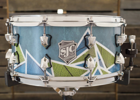SJC Custom Drums USA Custom Snare Drum Maple Geometric Leaf Snare