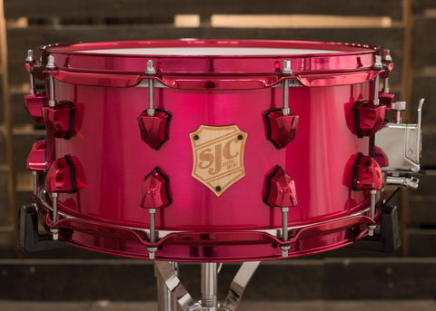 SJC Drums Custom USA Snare Candy Apple Powder Coat Finish