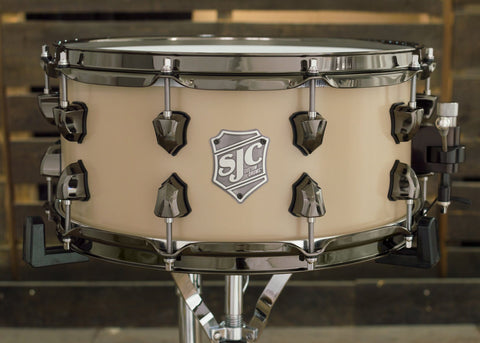SJC Drums Custom USA Snare Beige Powder Coat Finish