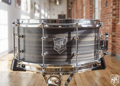 6.5x14 M5 Maple Snare - Black and Grey Striped