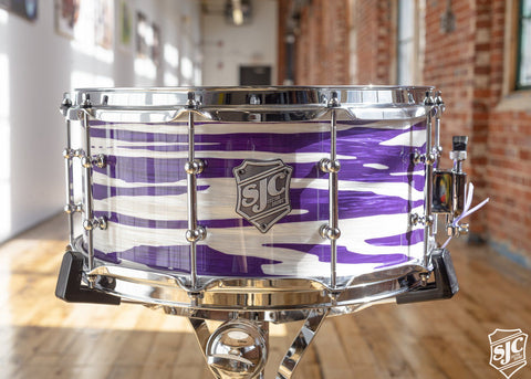 6.5x14 M5 Maple Snare - Purple + White Ripple with Chrome Hardware