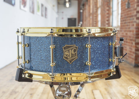 6x14 Maple Snare - Blue Glitter with Brass Hardware